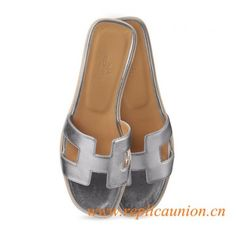 Hermes Original Silver or Gold Oran H Sandals Calfskin Leather Slippers