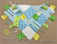 Crinkle Taggie Blanket, Sensory Toy, Baby Crinkle Tag Toy, Taggie, Ribbon Blankie, dogs, puppies, blue, green, yellow $14