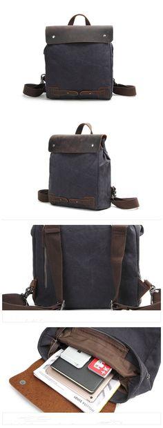 5b7500d48f9d Retro Canvas Leather School Travel Backpack Rucksack Vintage Shoulder Bag