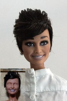 amazing how this scary barbie on the little pic could look like after an artist has put his hands on her! OOAK Mattel BArbie doll repaint as Audrey Hepburn by Lulemee