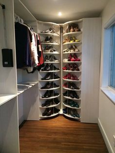 """What an awesome concepts! these 2 units combines called """"The Twisted Sisters"""" invented by Lee Goldsticker, and were custom made to fit a small closet and now can store more than double than the original layout."""