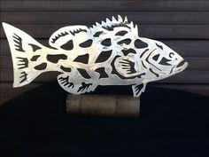 Grouper metal gamefish art sculpture. Hand drawn and plasma cut aluminum piece...  Www.metalgamefish.com