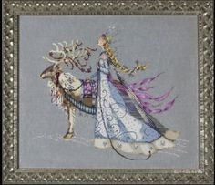 The Snow Queen is the title of this cross stitch pattern from Mirabilia that is stitched with DMC and Caron Waterlilies