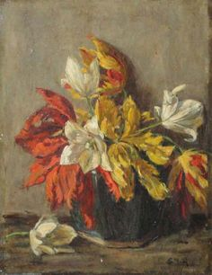 Schilderij: Stillevenmet bloemenvaas en bloemen Schilder: Sientje Mesdag-van Houten (1834-1909)  Olieverf op doek, gesigneerd. Formaat 38/50 cm