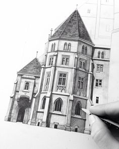 This was one of my favourite buildings I saw last summer on my travels. #Vienna #architecture #drawing #pencil #illustration #sketch #church #austria #travel