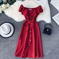 Buy Lucuna Off-Shoulder Short-Sleeve Midi A-Line Dress Pretty Dresses, Sexy Dresses, Dress Outfits, Summer Dresses, A Line Dresses, Skater Outfits, Ladies Dresses, Hijab Fashion, Girl Fashion