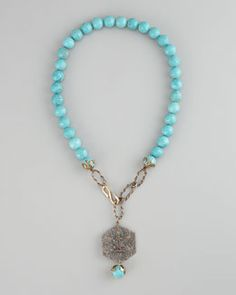 Y115R Love Heals Turquoise Beaded Necklace