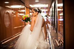 Bride leaving her stateroom on the Disney Dream Cruise  © Great Heights Photo