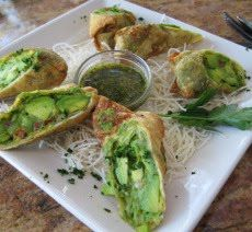 Avocado Egg Rolls - Copycat of the ones at Cheesecake Factory - white vinegar - balsamic vinegar - tamarind pulp - honey - ground saffron - cashews - cilantro - 2 garlic cloves - green onions - sugar - cumin - olive oil - large avocado - sun dried tomatoes in oil -red onion - 3 egg roll wrappers - egg