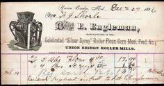 1886 Union Bridge Roller Mills - E Engleman - Maryland Vintage Letter Head Rare | eBay