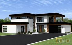 Modern Exterior Entrance - - Exterior De Casas Mediterraneas - Dark Exterior Remodel - - Exterior Makeover On A Budget Minecraft House Designs, Minecraft Houses, Contemporary House Plans, Modern House Plans, Flat Roof House, Villa Plan, Modern Villa Design, Sims House, Modern Exterior