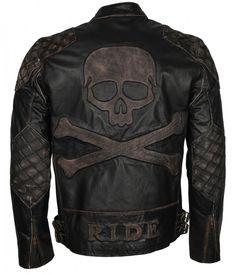 Buy Men Skull Embossed Vintage Black Motorcycle Leather Jacket at Wish - Shopping Made Fun Motorcycle Leather, Biker Leather, Leather Men, Black Leather, Cowhide Leather, Motorcycle Fashion, Biker Fashion, Mens Fashion, Men's Motorcycle Jacket