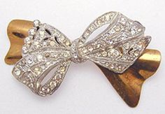 1930's Rhinestone Bow Brooch - Garden Party Collection Vintage Jewelry