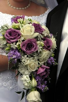 Purple & Ivory Cascading Bouquet Aria Style www.ariastyle.com https://www.facebook.com/AriaStyle / http://instagram.com/ariastyleseattle