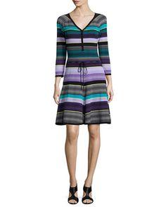 TB2FB Diane von Furstenberg Carrigan Striped Fit-and-Flare Dress, Lavender