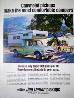 1968 Chevy truck with camper top ad.