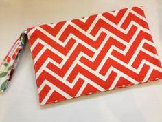 READY TO SHIP Orange Geometric Diaper Clutch by JerseyPeachDesigns, $35.00