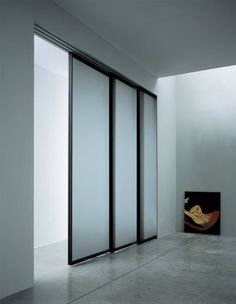 Modern interior sliding door featuring frosted glass panel with anodized aluminum frame