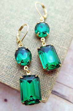 Emerald Earrings Vintage Earrings Emerald Bridal