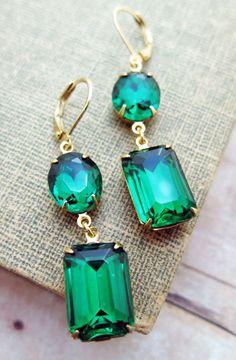 Emerald Earrings Vintage Earrings Emerald Bridal