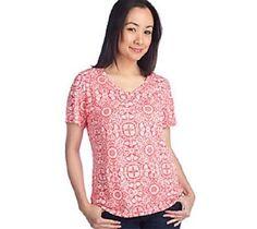 New Denim & Co. Short Sleeve V-neck Burnout T-shirt Clear Aqua 2X #DenimCo #TShirt