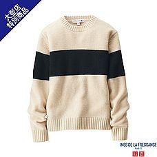 WOMEN ワイドラインクルーネックセーター(長袖)+