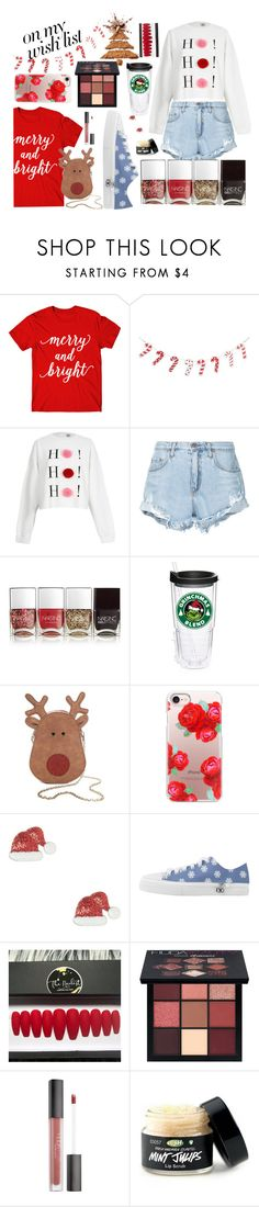 """""""#PolyPresents: Wish List"""" by shavorn-vukas ❤ liked on Polyvore featuring River Island, Nobody Denim, Nails Inc., True Craft, Casetify, Huda Beauty, contestentry and polyPresents"""