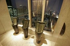I saw these urinals on the travel channel they are in Hong Kong at the Felix Bar