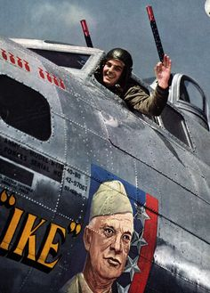 A USAAF dedicated to newly promoted United States European Allied Commander, General Dwight D. Eisenhower via Nose Art, Pin Up, Ww2 Aircraft, Military Aircraft, Airplane Art, Aviation Art, Up Girl, Military History, World War Two