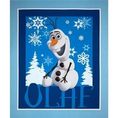 Cotton Fabric - Large Fabric Panel - Disney Frozen Olaf Snowflakes Blue ~ 4my3boyz Fabulous Fabrics by the Fat Quarter and More