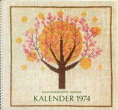 1960 Year in Cross Stitch Calendar - Trees in Bloom & Sun By Danish Handcraft Guild, Edith Hansen