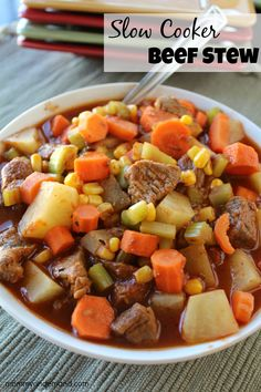 Slow Cooker Beef Stew Recipe. Another great crock-pot recipe that will be great to try this winter. YUM! Comfort food at it's best!