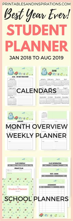 Free printable student planner, school planner and calendar for kids #freeprintables #planner #printablesandinspirations