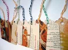 Vintage cookbook favor tags