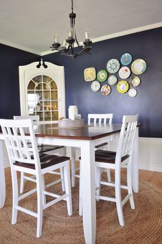 Beth's New-Meets-Old Beach Cottage Inspired Bungalow Love the plates and the wall color.
