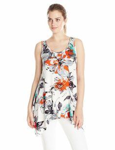 Karen Kane 2K50083 Floral Handkerchief Hem Stretch Knit Tank Top, M - $98   eBay Karen Kane, Scoop Neck, Cover Up, Spandex, Floral, Top, Ebay, Dresses, Fashion
