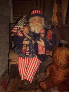 Primitive Patriotic Uncle Sam Doll, Fourth of July,Lady Liberty Doll