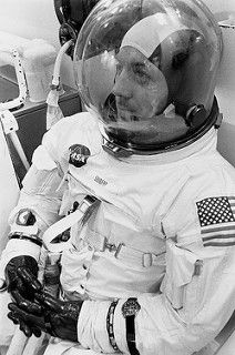 """Jack Swigert suited for launch with an Omega Speedmaster velcro strapped to his left wrist. This is probably the Speedmaster which timed the mid-course burn so critical to the return of Apollo Best Watches For Men, Luxury Watches For Men, Cool Watches, Men's Watches, Omega Speedmaster Moonwatch, Apollo Space Program, Apollo 13, Speedmaster Professional, Moon Watch"