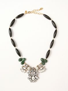 TURQUOISE BEAD & CRYSTAL CABACHON STATEMENT NECKLACE