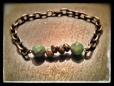 Bracelet chaîne en bronze, agates facettées et pyrites
