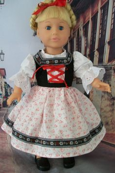 American Girl Doll Clothes European Style Dirndl by MyKaraBella, $25.00 Historical Dress, Historical Clothing, European Style, European Fashion, Boy Doll, Girl Dolls, Doll Costume, Costumes, Eureka Moment