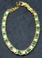 """Lovely Vintage Gold Tone Clear & Green Rhinestone Accented Tennis 7"""" Bracelet"""
