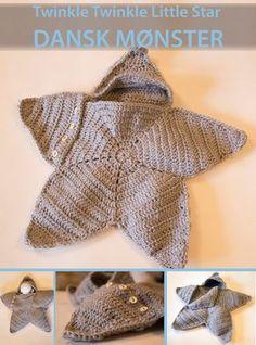 Moster Johanne: NU PÅ DANSK: twinkle twinkle little star crochet Crochet Stars, Love Crochet, Crochet For Kids, Knit Crochet, Crochet Blanket Patterns, Baby Blanket Crochet, Baby Patterns, Baby Cocoon Pattern, Crochet Baby Cocoon
