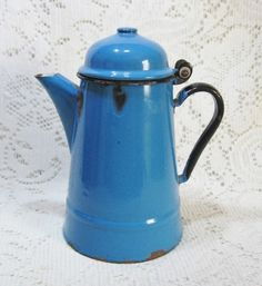 Early Dome Hinged Lid Blue Granite Coffee Pot ~ $25.00