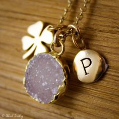 Gold Druzy and Four Leaf Clover Charm Necklace - with Initial Letter - Choose Your Druzy