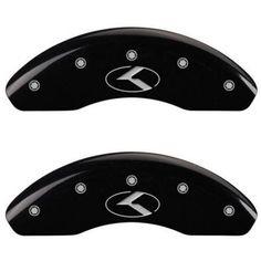 Set of 4 MGP Caliper Covers 21183Scrkbk, Engraved Front and Rear: Circle K/Kia, Black Powder Coat Finish, Silver Characters