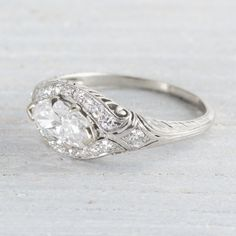 Image of .79 Carat Marquise Diamond Vintage Engagement Ring