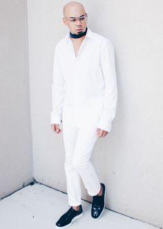 All White + Navy Creepers L/S Woven // Zara -- Denim // Topman -- Creepers // Zara (old) -- Chocker // Basic Bandana
