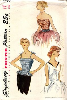 "Simplicity 3579  ""The back-buttoned camisole top is strapless in Styles 1 and 2. Detachable trim may be used on the wing front.  Style 1 has button trim down the front. Style 3 is fashioned with a band and narrow shoulder straps tying into bows. It features a flare peplum."""