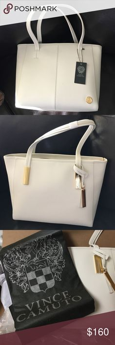 Vince Camuto large tote Brand new White Vinyl bag with duster! Gold hardware. Vince Camuto Bags Totes